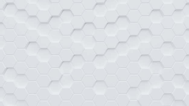 White hexagon pattern background.3d rendering