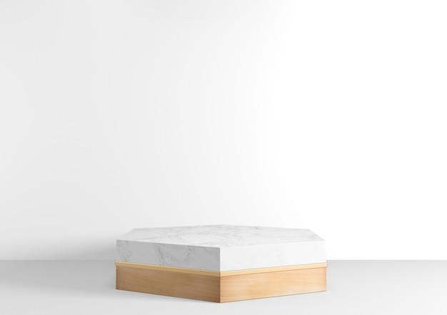 White hexagon podium wooden design on white background minimal design. rendering