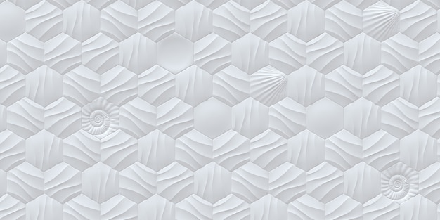 White hexagonal background with a shadow white background with 3d effect decorative panel