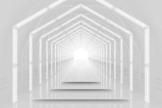 White hexagonal tunnel glossy podium. abstract background. light reflection stage. geometric neon lights. 3d illustration