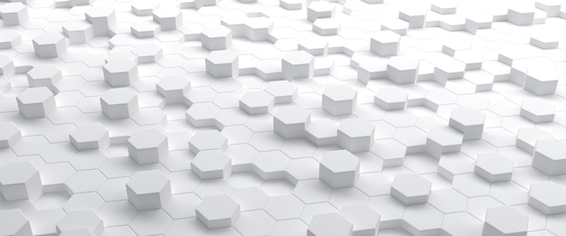 White hexagons abstract geometric 3d illustration