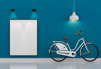 White hipster bicycle standing in blue room with lamp