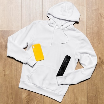 White hoodie with remote