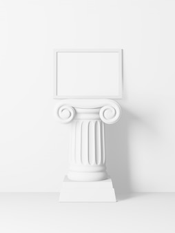 White horizontal picture frame on top of an antique column isolated on white