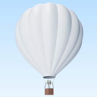 White hot air balloon on clouds background with basket.