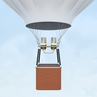 White hot air balloon with basket