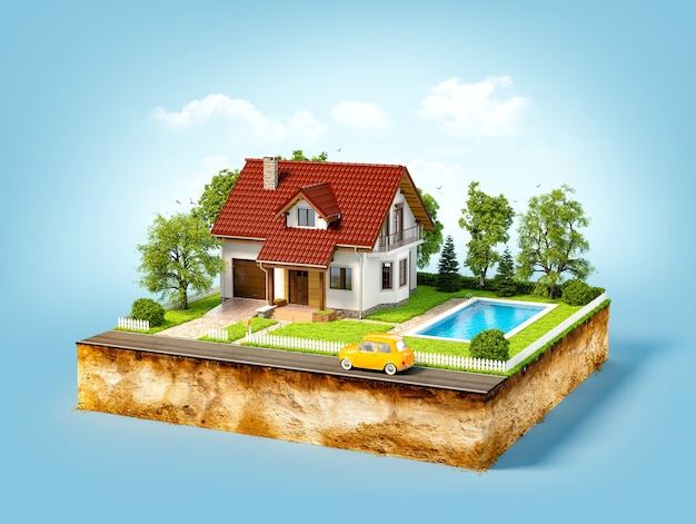 White house of dream on a piece of earth with white fence, garden, pool  and trees