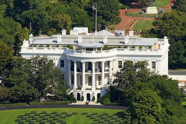 ワシントンのホワイトハウス、記念碑から撮影した写真。