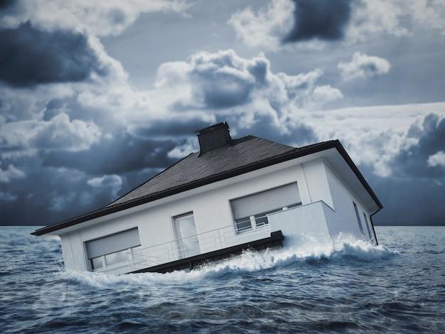 Белый дом тонет в паводковых водах