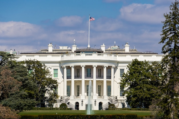 The white house with blue sky and green trees foreground in summer at washington dc
