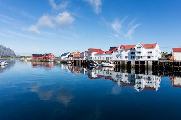 어촌 마을, henningsvaer, lofoten 군도, 노르웨이의 백악관