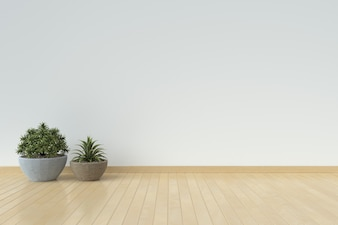 White interior design with plants on a floor