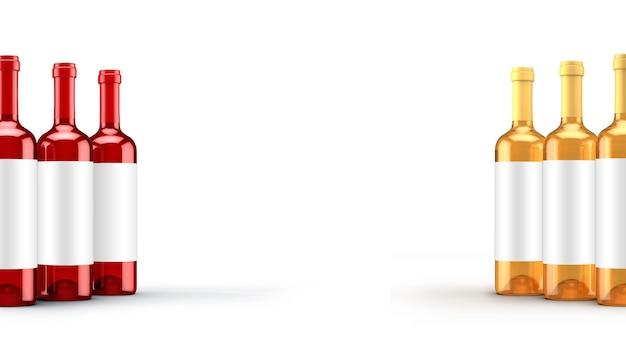 Белая изолированная бутылка красного вина. 3d иллюстрации, 3d рендеринг.