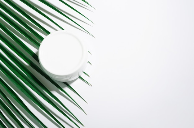 White jar of cream on a white with tropical palm leaves.