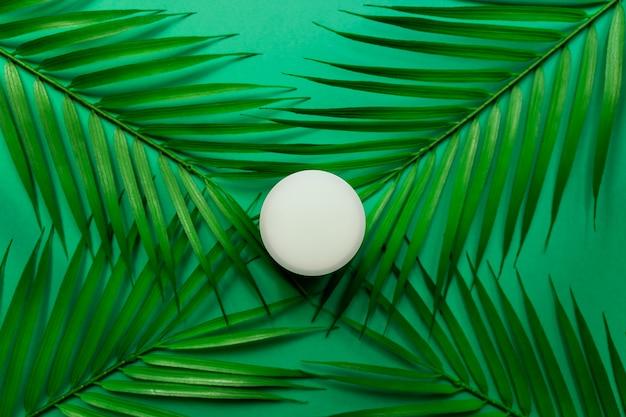 Белая банка крема для лица на листьях тропической пальмы