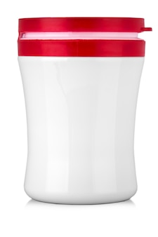 White jar with red cap without label on a white background for text