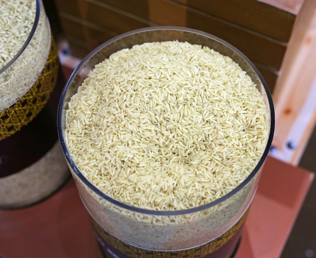 White jasmine rice in glass