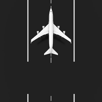 White jet passenger airplane takeoff from runway with blank space for your design top view extreme closeup. 3d rendering