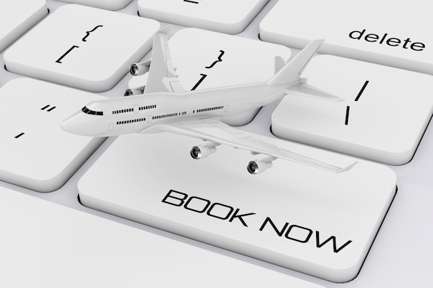 White jet passenger's airplane over computer keyboard with book now sign extreme closeup. 3d rendering.
