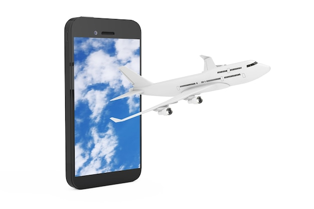 White jet passenger's airplane fly from mobile phone with blue sky on the screen on a white background. 3d rendering
