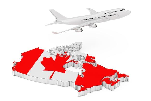 白い背景に旗が付いたカナダの地図上空を飛んでいる白いジェット旅客機。 3dレンダリング