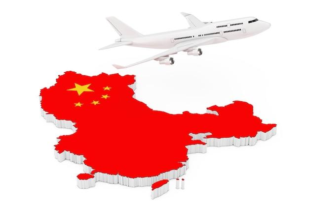 흰색 바탕에 깃발이 달린 중국 지도 위를 비행하는 흰색 제트기 승객의 비행기. 3d 렌더링