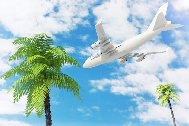 푸른 하늘 배경에 열 대 야자수 위로 비행 하는 흰색 제트 여객의 비행기. 3d 렌더링.