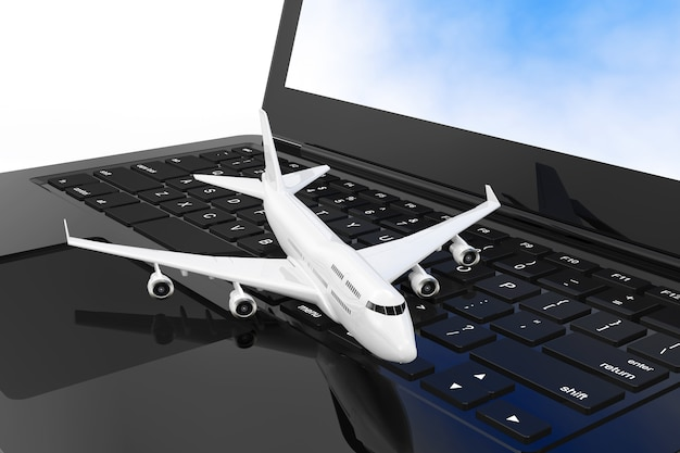 White jet passenger's airplane over modern laptop computer keyboard extreme closeup. 3d rendering.