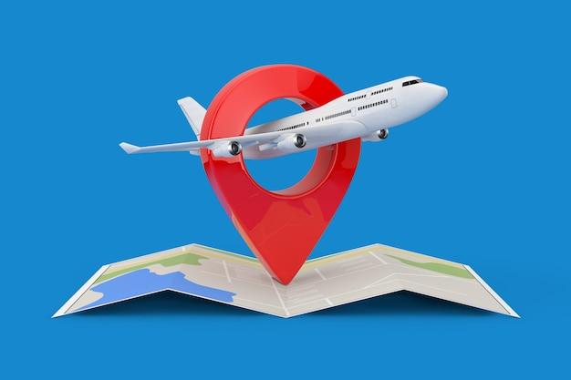 Самолет белого реактивного пассажира над сложенной абстрактной навигационной картой с указателем булавки цели на синем фоне. 3d рендеринг