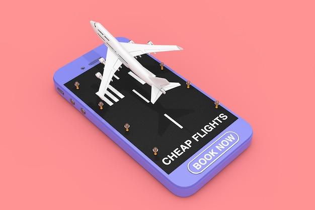 滑走路、格安航空券のサインとピンクの背景に今すぐ予約ボタン付きの携帯電話からの白いジェット旅客機の離陸。 3dレンダリング