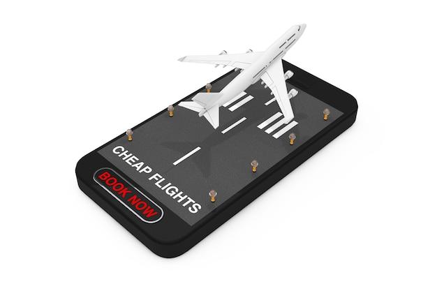滑走路、格安航空券のサインと白い背景の上の今すぐ予約ボタンを備えた携帯電話からの白いジェット旅客機の離陸。 3dレンダリング