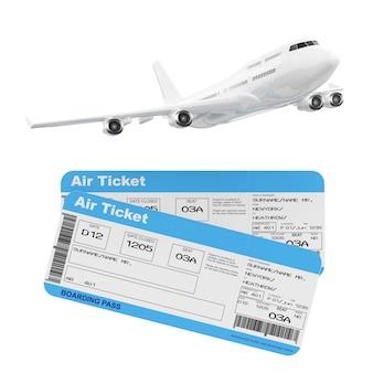Самолет пассажира белого реактивного самолета с билетами посадочного талона авиакомпании на белой предпосылке. 3d рендеринг