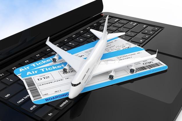 現代のラップトップコンピューターキーボードの極端なクローズアップ上の航空会社の搭乗券チケットを備えたホワイトジェット旅客機。 3dレンダリング。