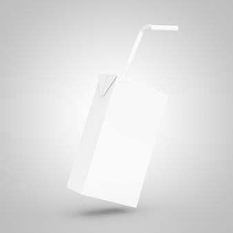 Коробка белого сока, йогурта или молока с соломинкой и свободным пространством для вашего дизайна на белом фоне. 3d рендеринг