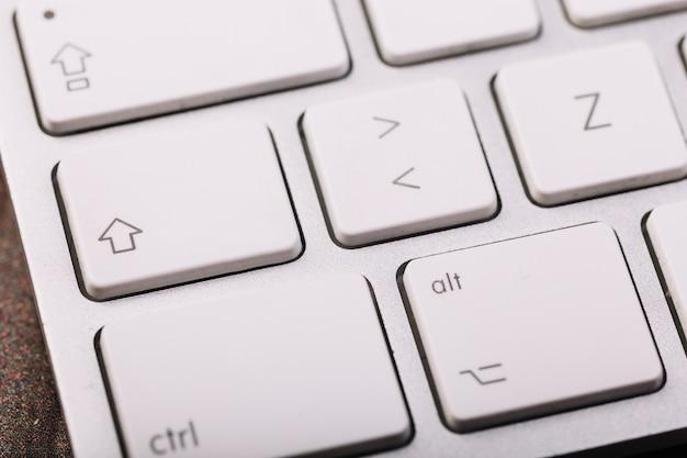 White keyboard of laptop