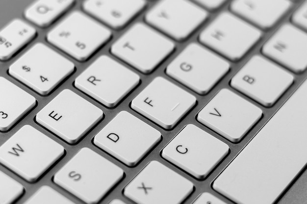 White keyboard of a modern laptop