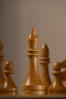 White king against the background of the rest of the chess pieces