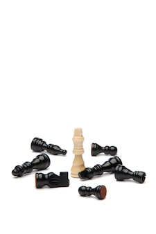 White king and black pieces of chess