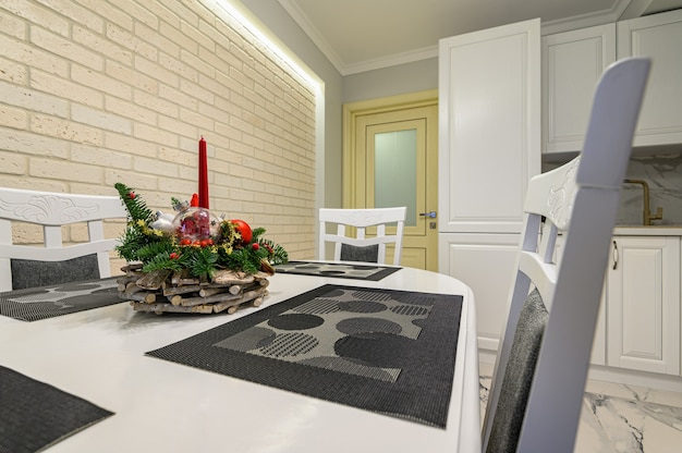 White kitchen in classic style just before the christmas