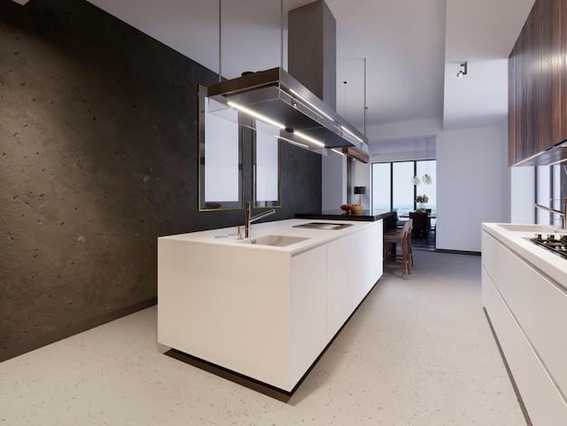 White kitchen island on the background of a concrete wall with paintings. modern kitchen and kitchen furniture, 3d rendering.