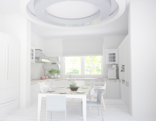 큰 창문과 정원 전망이있는 흰색 주방