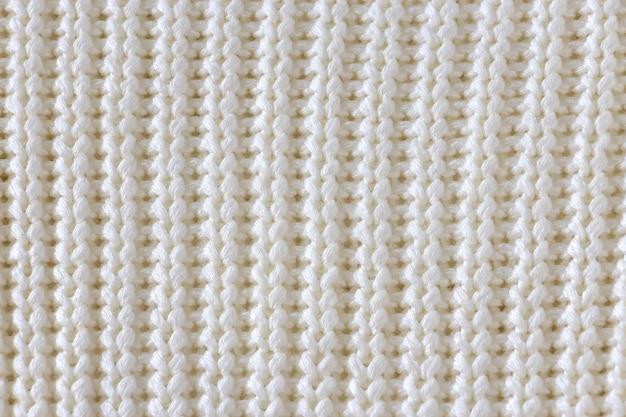 Белая вязаная текстура шерсти