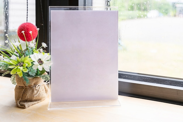 White label on the table with space for text. stand for acrylic tent card