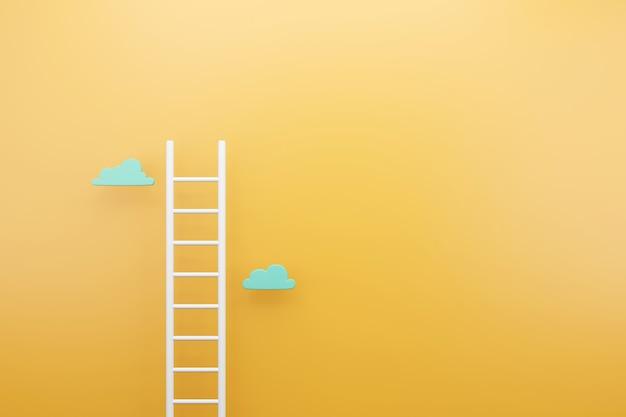 노란색 배경, 텍스트 광고 개념 복사 공간 흰색 사다리, 3d 렌더링