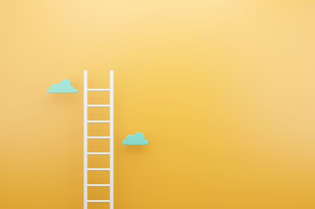 White ladder with yellow background, copy space for text advertising concept, 3d render