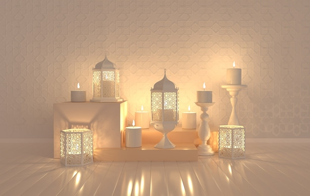 White lantern with candle, lamp with arabic decoration, arabesque design