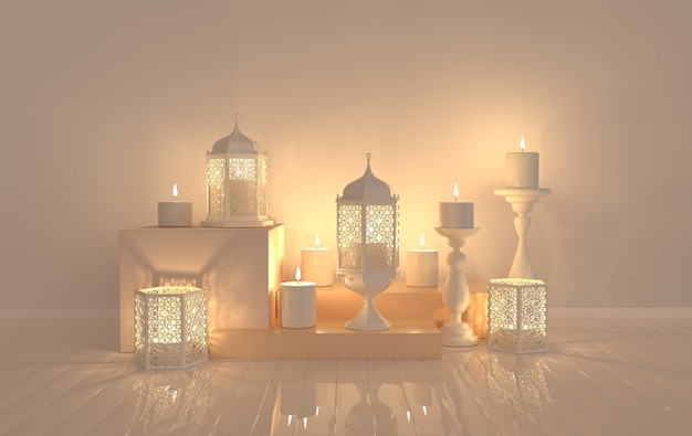 White lantern with candle, lamp with arabic decoration, arabesque design.