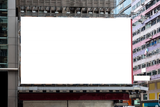 White large billboard for rent on building
