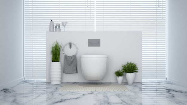 White lavatory in house or hotel - 3d rendering