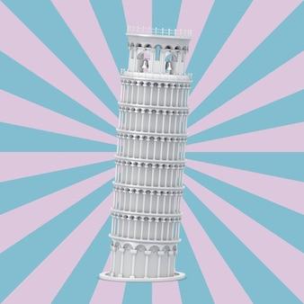 Белая пизанская башня на розовом и синем фоне в форме винтажной звезды. 3d рендеринг